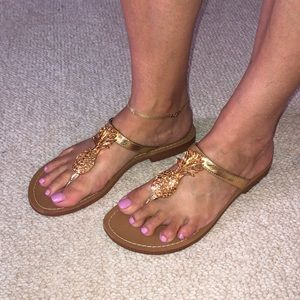 Lilly Pulitzer gold pineapple flip-flop